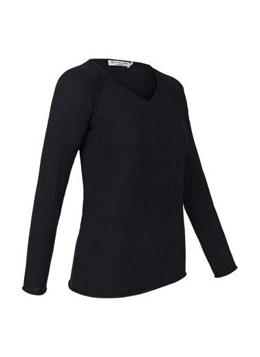 Silk and Cashmere & More Edelina Modal ve Pamuklu V Yaka Uzun Kollu Triko Siyah